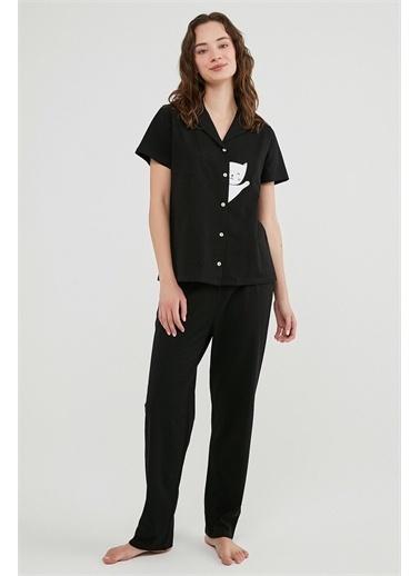 Penti Siyah Hello Cat Ss Pijama Takımı Siyah